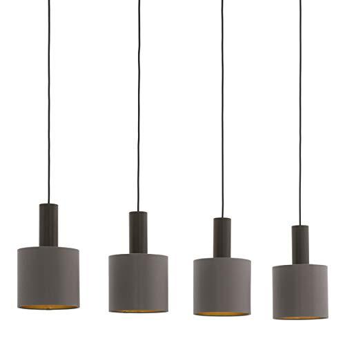 EGLO Pendellampe Concessa 1, 4 flammige Textil Pendelleuchte, Hängeleuchte aus Stahl und Stoff, Farbe: Dunkelbraun, cappuccino, gold, Fassung: E27