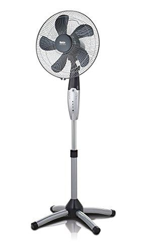 Fakir VC 40 S Prestige Standventilator mit Fernbedienung, Standlüfter - höhenverstellbar 120-140 cm, 3 Geschwindigkeitsstufen, Timer, Oszillationsfunktion 50°, leise, 55 Watt, silber/dunkelgrau