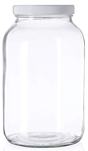 1 Gallon Glass Jar Wide Mouth with Airtight Foam Lined Plastic Lid - Safe Mason Jar for Fermenting Kombucha Kefir - Storing and Canning- By Kitchentoolz (1)