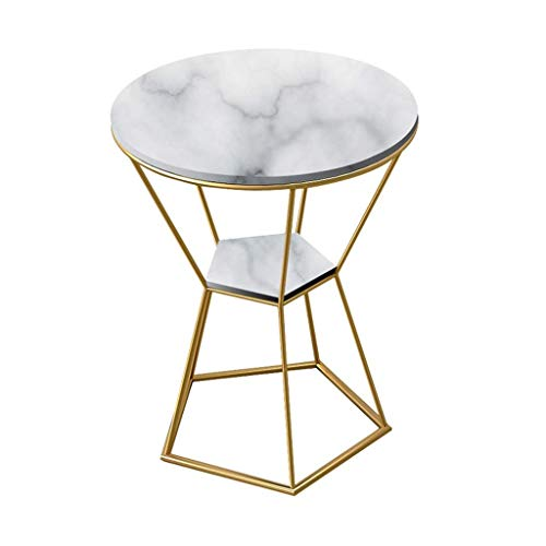 WGFGXQ Double Layer Side Table/Wrought Iron End Table, Natural Marble Table Top, Metal Bracket, The Best Companion for The Living Room Sofa, Round, Multi-Color Optional