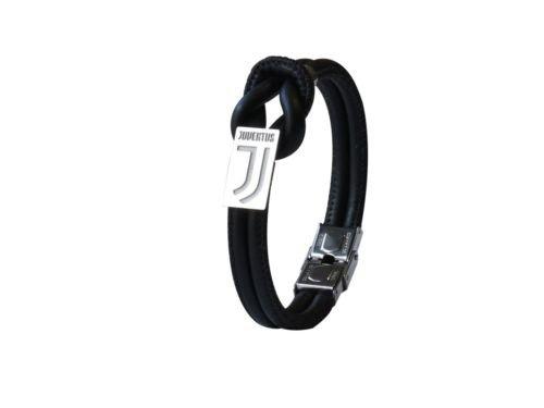 Offizielles Armband von Juventus, Kunstleder, Knoten mit zentralem Plättchen, Gravur: Juventus F.C.