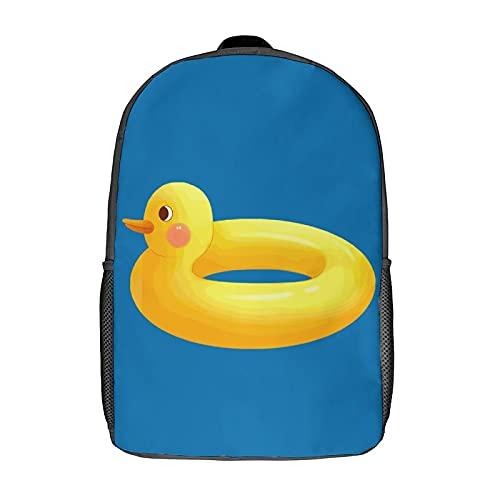 Creativity Wasserdichte Kinder-Rucksäcke für Schule, Studenten, Büchertaschen, stilvoll bedruckt, gelbe Ente, Schwarz, 43 cm