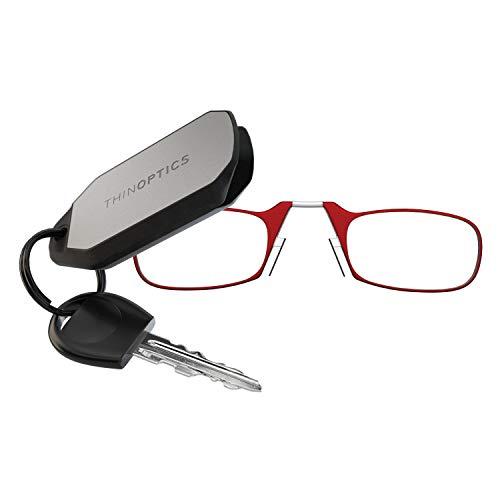 ThinOptics - Gafas de lectura (1,5 marcos rojos y estuche para llavero), diseño compacto y plegable con gafas de lectura 1.50 gafas de lectura
