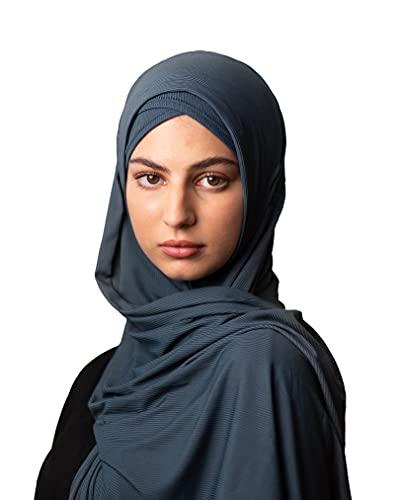 TAKVA Infinity Hijab Set   Muslimische Frauen Kopftuch, bescheidener Jersey Schal, Instant Hijab (Ägäisch)