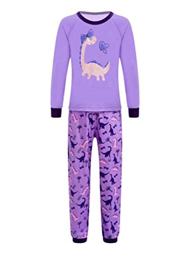 inhzoy Kids Boys Girls Cartoon Dinosaur Print 2pcs Nightwear Pajamas Top with Pants Set Purple 8 Years