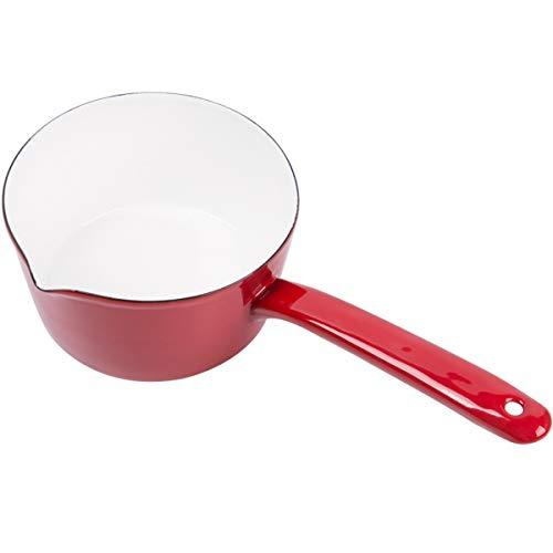 HLONGG Emaille-Topf im Retro-Stil, kleiner Milchtopf, Küchenutensilien für Kaffee, Buttermilch, kleiner Emaille-Topf mit Ausguss, 1 l, Rot