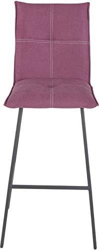 Destock Mobili - Sgabello da bar, in tessuto, colore: Fucsia con base in metallo, colore: Grigio