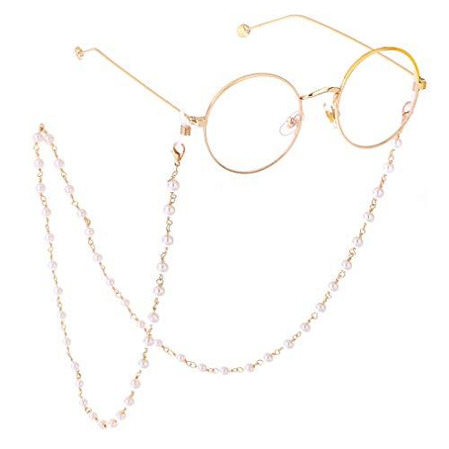Fauhsto Catenella per Occhiali da Sole,Elegante Perla Catene per occhiali da Lettura Perline Occhiali Cord,Occhiali Band Occhiali da Lettura Antiscivolo Catenine,Catena Decorativa per Occhiali