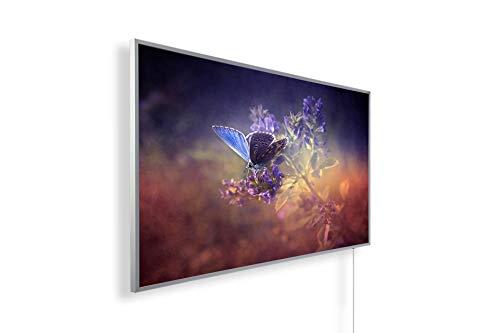 Könighaus Fern Infrarotheizung - Bildheizung in HD Qualität mit TÜV/GS - 200+ Bilder – mit Könighaus Smart Thermostat und APP für IOS/Android - 600 Watt (115. Schmetterling Blume)