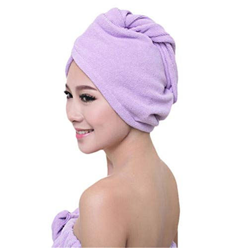 No branded Wrap Cap Douche Cheveux Cheveux Microfibre sèche-Serviettes Wrap Turban tête Chapeau Douche Sec Microfibre Bun Cap Pure Color Pratique (Color : Violet, Size : One Size)