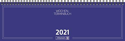 BRUNNEN 1077401301 Tischkalender/Querterminbuch Modell 774, 2 Seiten = 1 Woche, 326 x 102 mm, Karton-Umschlag blau, Kalendarium 2021, Wire-O-Bindung