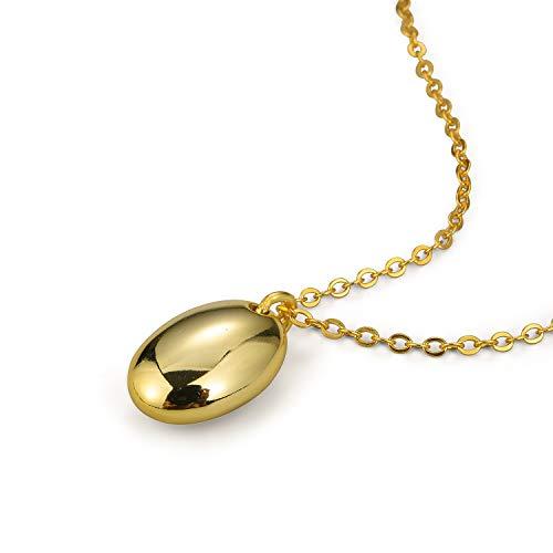 Lotus Fun S925 - Collana in argento Sterling con ciondolo geometrico liscio e ellittico, lunghezza 42,5 cm + 7,5 cm, con catena allungata e Argento, colore: gold, cod. DY027