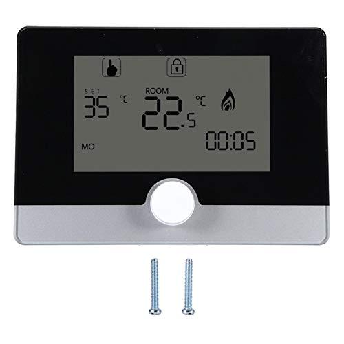 Controlador de temperatura programable digital termostato Fahrenheit y centígrado para equipos de calefacción eléctrica y sistema de calefacción de calderas suspendidas en la pared(negro)