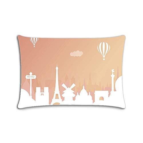 Funda de almohada personalizada con cremallera de Skyline of Paris 20 x 30 pulgadas, impresión a dos lados