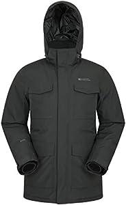 Mountain Warehouse Chaqueta Larga para Hombre Concord Extreme - Abajo, Costuras Selladas, Impermeable, 4 Bolsillos Clima frío del Invierno Negro S