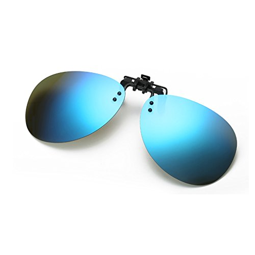 QHGstore Unisex para hombre polarizada reflejada UV400 clip de gafas de sol Gafas azul flip-up
