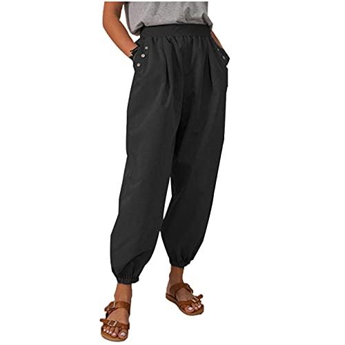 YANFANG Pantalones Casuales De Bolsillo Costura Plisada con CordóN AlgodóN Y Lino Color SóLido para Mujerpantalones Pierna Ancha Seda Mujer Holgados Verano Cintura EláStica, Largos,Negro,XL