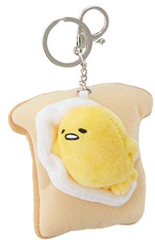 "Gund Sanrio Gudetama the Lazy Egg on Toast Plush Keychain 3.5"" , Multicolor"
