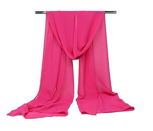 Chal de gasa para mujer para novia/boda/fiesta noche S-01 rosa rosa (b)