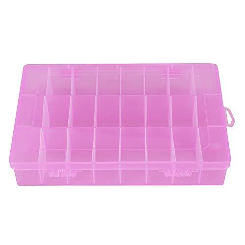 cloudbox Hermosa caja de almacenamiento de joyas 24 rejillas de plástico caja ajustable desmontable organizador cuentas pendientes caja de almacenamiento (rosa)