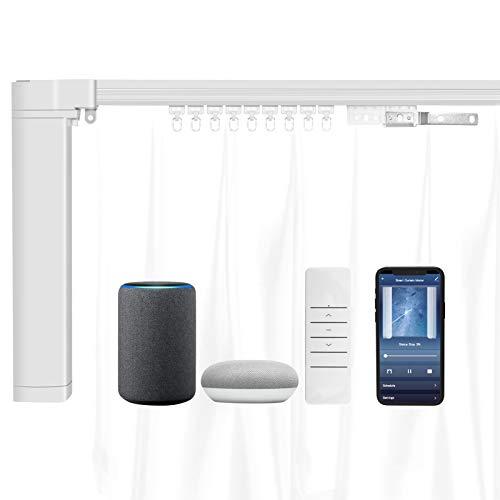 Smart Curtain Opener, Electric Curtain Rod with Remote, Tuya Alexa Google Home Voice Control, WiFi Smart Curtain Motor Track System, Automatic Curtain Opener for Bedroom Living Room (4.2M(165 inch))