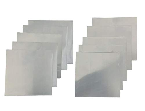 99.9% Pure Zinc Zn Chapa Metal Lámina de 140 x 140 mm, 0.2 mm, 10 unidades