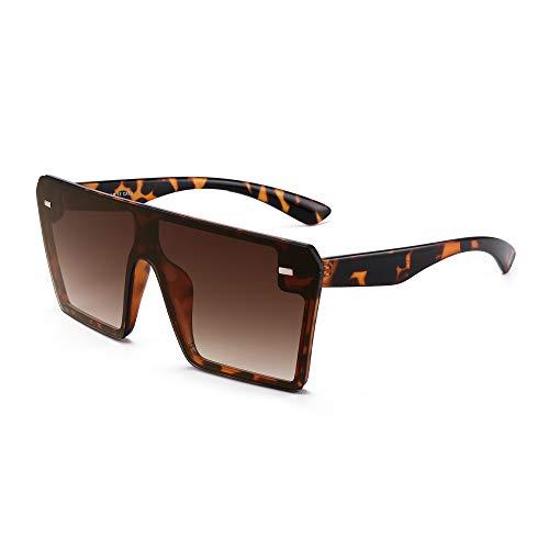 GLINDAR Occhiali da Sole con Scudo Oversize per Donna Uomo Occhiali da Guida Quadrati Senza Montatura Montatura Tartaruga / Lenti Marroni Sfumate