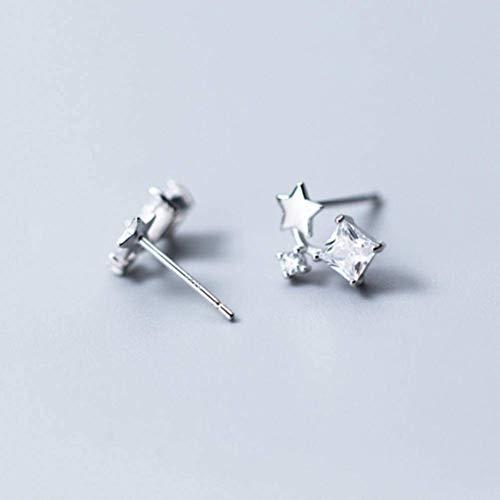 S925 zilveren oorbellen Women'S Japanse en Koreaanse Stijl Mode Vierkante Diamanten Oorbellen Temperament Leuke Ster Oorsieraden Vrouwelijk, Zilver, 925 Zilver, EEH A ZILVER
