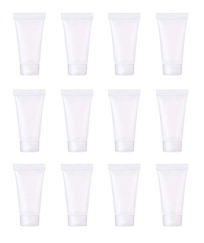 Royee 12 Pcs 10 ML Plastic Empty Tubes Refillable Squeeze Soft Container Clear Bottles Holder for Toner Shampoo Body Lotion Hand Cream Cleanser Makeup Sample Travel DIY Project