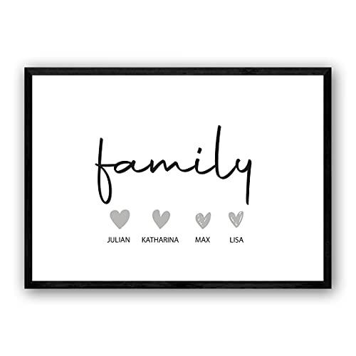 Zertify® Personalisiertes Familie Poster mit Herz   Typographie Wandbild Querformat in Minimalistisches Design   Familienbild für Kinderzimmer, Wanddeko oder Wohnzimmer   Größe und Rahmen Optional