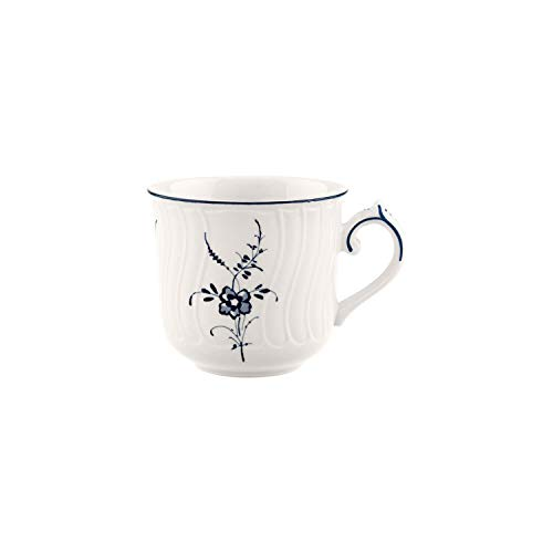 Villeroy & Boch Vieux Luxembourg Kaffeetasse, 200 ml, Höhe: 8,3 cm, Premium Porzellan, Weiß/Blau