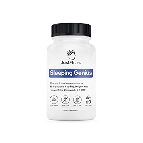 JustFloow Sleeping Genius | 12 Sleep Supporting Ingredients - Including Lemon Balm, Chamomile, 5HTP, L-Theanine, Magnesium, Montmorency Cherry | Sleep Aid That Promotes Healthy Sleep