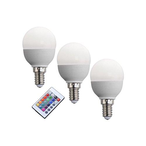 3er Set E14 LED Leuchtmittel 3,5W 200l/3000K dimmbar mit Fernbedienung, Farbwechsel
