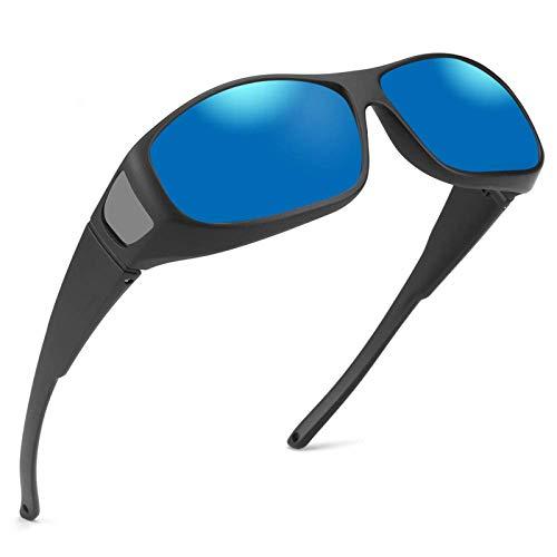 Oversized Cover Prescription Sunglasses ,Warp Around Polarized Fitover Sun Glasses for Men Women,UV Protection & Anti-glare,Coating Blue