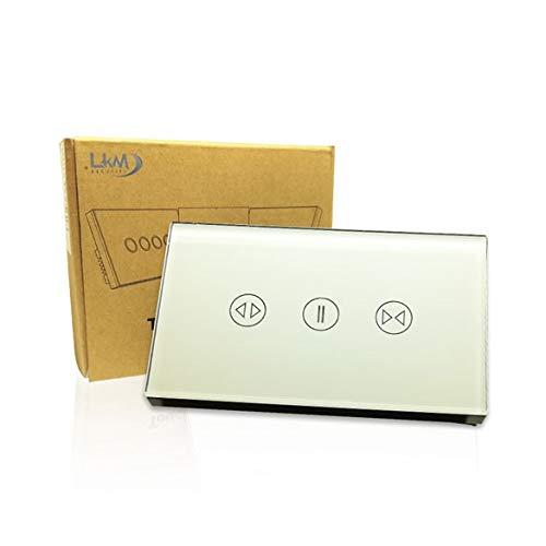 Interruttore Tapparelle Smart Home a 3 pulsanti Touch WiFi Bianco LKM-SMTP01W LKM Security Cristallo Temperato Controllo a Led Compatibile con Amazon Echo e Google Home