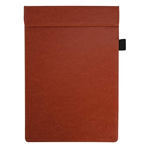 A4 Portablocchi PU Organizer Cartella Portadocumenti con Pinza per Organizzare Fogli e Documenti per Menu Ufficio e Scuola, Marrone