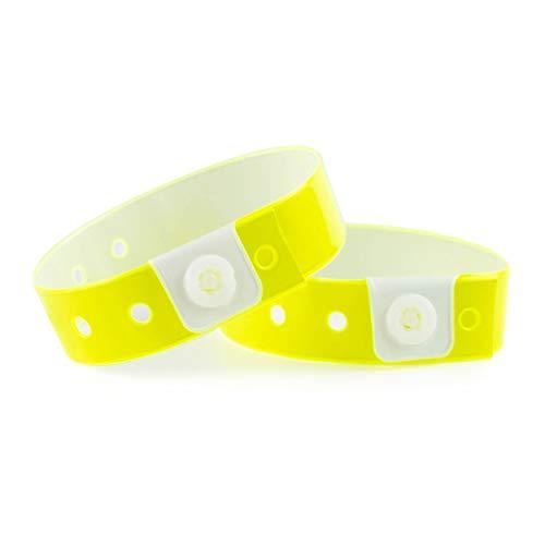 Set di 100 bracciali in plastica/vinile per eventi, impermeabili (Giallo Fluo)