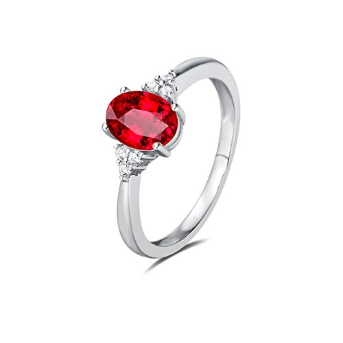 FANCIME Rings for Women Sterling Silver Created Ruby Rings Engagement Ring Fine Jewelry for Women