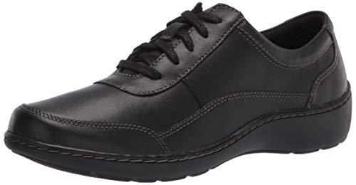 Clarks Women's Cora Calica Sneaker, Black Leather, 9