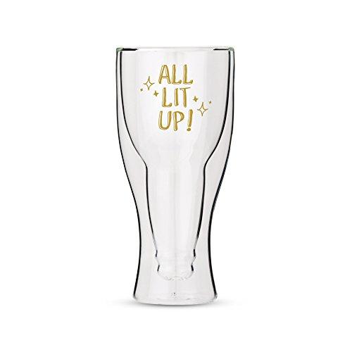 Verre à bière à double paroi avec tous les illuminé en Doré Motif