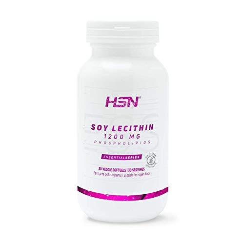 Lecitina de Soja de HSN | 1200mg Fosfolípidos, Con Ácidos Grasos Esenciales: Omega 3 y 6 (Ácido Linoleico) | Vegano, Sin Gluten, Sin Lactosa, 30 perlas vegetales