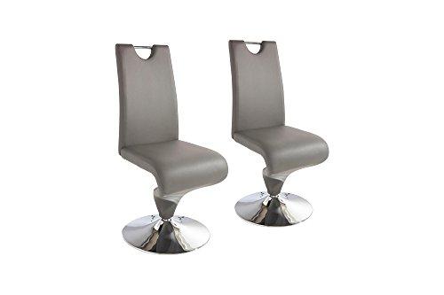HOMEXPERTS, Schwingstuhl TRACY, Schwinger 2er Set, Esszimmerstuhl in modernem Design mit Bezug in Kunstleder grau, Untergestell ist ein verchromter Tellerfuß, B 49, H 102, T 53,5 cm