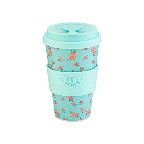 QUY CUP. Passion. Kaffeebecher to Go, Travel Mug, Bamboo Cup als Mehrweg Tasse für unterwegs, Coffee to go Becher, nachhaltiger Becher mit Deckel und Silikonmanschette, 400ml.