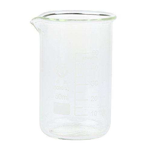 D dolity Vidrio borosilicatado Laboratorio Botella de cristal Jarra Medidora Laboratorio dispositivo laboratorium resistente al calor taza (1pieza) Transparent - 50ml