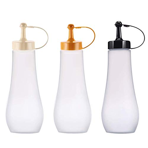 (3 Pezzi) 360ML Bottiglie di Spremere Bottiglie di Salsa con Tappi Squeeze Bottle Bottiglia Squeeze Plastica Ketchup Bottiglie di Condimento Spremere Maionese Olio Flacone Dosatore Salse con Tappo