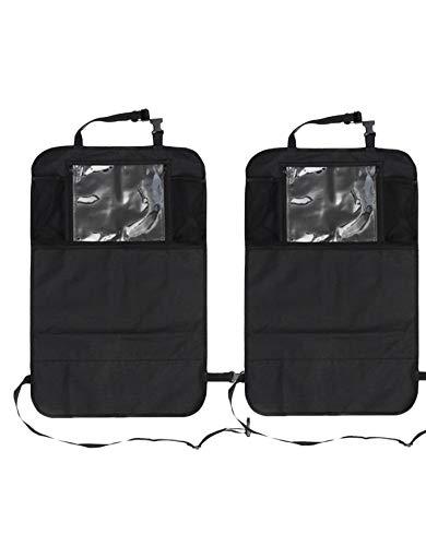 Auto Companion - Set di 2 tappetini paraschiena impermeabili per sedili dell'auto, con tasche portaoggetti e supporto per tablet con schermo...