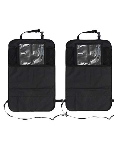 Auto Companion - Juego de 2 protectores organizadores para parte trasera de asiento de coche, impermeables, con soporte para tablet de 12 pulgadas (30,4 cm)