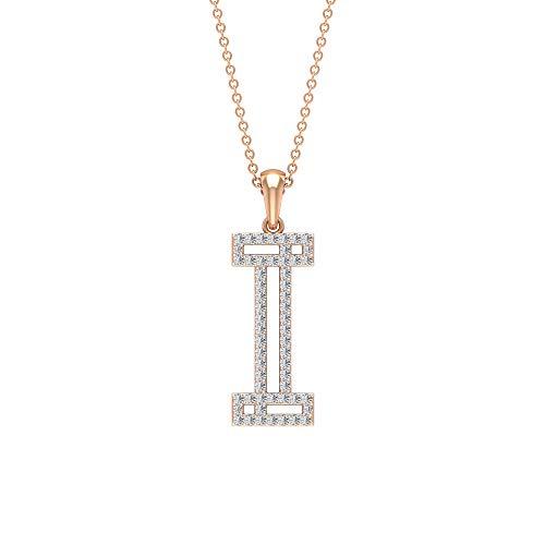 I Alphabet Initiale Halskette, HI-SI 0,35 ct Diamant Name Buchstabe Halskette, personalisierter Braut-Anhänger, zierlicher Statement-Anhänger, Arbeitskleidung Halskette, 18K Roségold Mit Kette