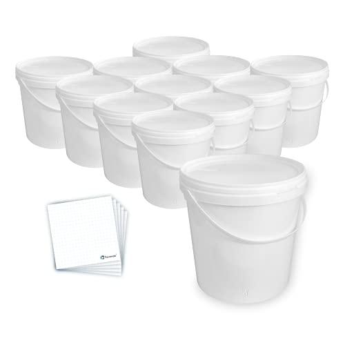 Trevendo 12 Stück Eimer mit Deckel 10 Liter lebensmittelecht weiß mit Beschriftungsetiketten