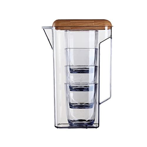 wantanshopping Jarra de Agua 160 0ml Conjunto de Botellas de Agua fría con Taza plástico Transparente de Alta Capacidad de Agua fría Tapa de Madera Taza de Agua Zumo Tetera Jarra de Cristal